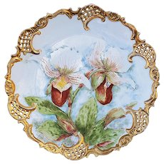 "Stunning Leonard Vienna Austria 1905 Hand Painted ""Yellow Water Cattails"" 9"" Reticulated Floral Plate by Artist, ""H.L. Randall"""