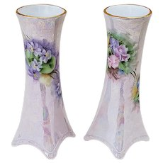 "Attractive Pair of Heinrich & Co. Selb Bavaria 1900's Hand Painted ""Violets"" And ""Tulips"" 5-1/4"" 4-Sided Floral Vases"