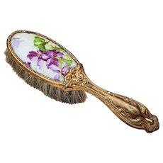 "Beautiful Vintage 1920's ""Violets"" 5-3/4"" Child's Hair Brush"