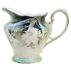 """Beautiful Vintage RS Prussia 1900 White Flowers 3-3/4"""" Floral Cream Pitcher"""