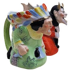 """Fabulous German Schafer & Vater 1900 Hand Painted """"Indian Chief"""" 5-1/4"""" Milk Pitcher"""