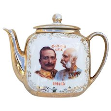 "Wonderful & Scarce RS Prussia [OS] Emperor Wilhelm II & Emperor Franz Jospeh I""  1914/15 Portrait Child's Tea Pot Inscribed ""God With Us"""