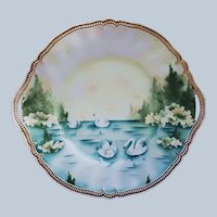 """Beautiful 11-1/2"""" RS Prussia 1900 """"Swans on the Lake"""" Satin Finish Scenic Plate"""