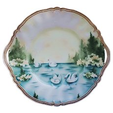 "Beautiful 11-1/2"" RS Prussia 1900 ""Swans on the Lake"" Satin Finish Scenic Plate"