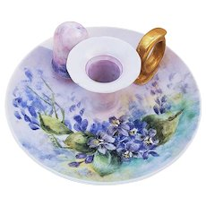 "Just Outstanding Vintage Bavaria 1900's Hand Painted ""Violets"" Floral Chamberstick Holder by the Artist, ""Crane"""