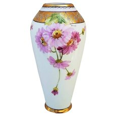 """Outstanding Pickard Studio of Chicago 1903 Hand Painted """"Pink Daisies"""" 6-1/2"""" Floral Vase by Artist, """"Harry Tolley"""""""