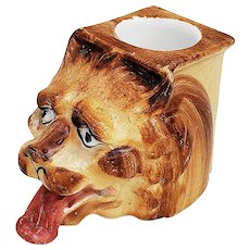 "Outstanding Vintage Austria 1900 Hand Painted ""Panting Lion"" Figural Toothpick Holder"