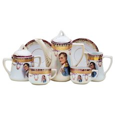 "Spectacular RS Prussia [OS] 1900's ""Napoleon"" 9 Pc Portrait Tea Set For 2"