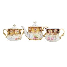 "Fabulous RS Prussia 1900 ""Pink & Peach Roses"", With Extensive Heavy Gold, 5-Pc Tea Set"