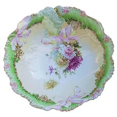 "Pristine & Exceptional RS Prussia 1900 ""Red, White, & Yellow Mums"" Hidden Image 10-1/4"" Blown Out Iris Scenic Bowl"