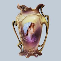 """Stunning RS Prussia 1900 Blown Out Iris Mold """"Peasant Girl"""" 6-1/2"""" Portrait Vase"""