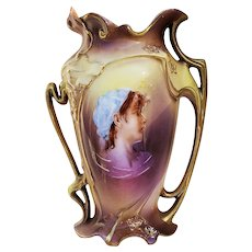"Stunning RS Prussia 1900 Blown Out Iris Mold ""Peasant Girl"" 6-1/2"" Portrait Vase"