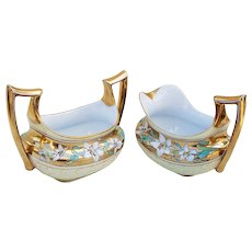 """Stunning & Fancy Bavaria & J.H. Stouffer Co. 1910's """"White Lily"""" Floral Creamer & Sugar Set by Listed Artist, """"Isadore Bardos"""""""