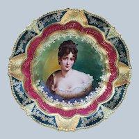 "Fantastic Vintage RS Prussia 1900 ""Madame Recamier"" 9"" 3-Footed Royal Vienna Red & Green Greek Key Decor Bowl"