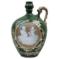 "Exceptional & Scarce RS Prussia Royal Pate Sur Pate ""Lady & Putti Sitting On A Cloud"" 7-1/2"" Scenic Ewer"