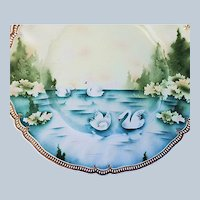 """Beautiful Vintage RS Prussia 1900 """"Swans On the Lake Through the Evergreens"""" 11-1/2"""" Satin Finish Plate"""