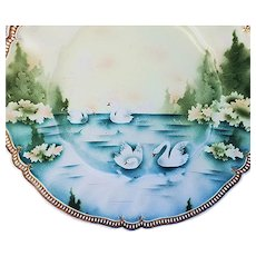 "Beautiful Vintage RS Prussia 1900 ""Swans On the Lake Through the Evergreens"" 11-1/2"" Satin Finish Plate"