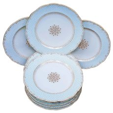 "Fabulous Tiffany & Co. of New York & Mintons & Co. 1902 ""Blue Beaded"" Set of Eleven [11] Pristine 9"" Plates"