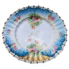 "Stunning 12"" RS Prussia 1900 ""Pink & Peach Roses"" Rosebud Mold Floral Chop Plate"