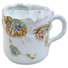 "Wonderful Vintage RS Prussia Pre-1900 Hand Painted Colorful ""Blue, Pink, & Yellow-brown Daisies"" 3-1/2"" Floral Scuttle Shaving Mug"