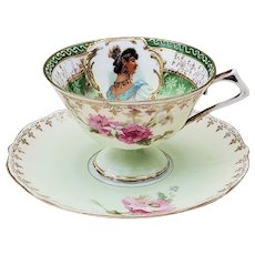 Wonderful Vintage RS Prussia 1900 Lady Portrait With P:ink & White Roses Pedestal Cup & Saucer