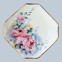 "Gorgeous Bavaria Schumann 1900's Hand Painted ""Pink Roses"" Octagon Shape Floral Plate"