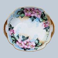 "Stunning Bavaria 1900's Hand Painted ""Apple Blossoms"" 6-3/8"" 2 Handle Bon-bon Dish"