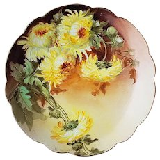 """Exceptional Vintage Rosenthal Bavaria 1900's Hand Painted Vibrant """"Yellow Zinnia"""" 8-1/2"""" Floral Plate by Artist, """"Linuwewell"""""""