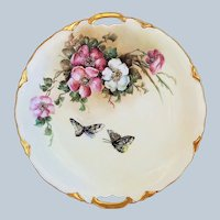 "Henrich & Co. Bavaria 1900 Hand Painted ""Pink & White Poppies With Butterflies"" 9-1/2"" Floral Plate"