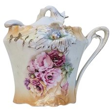 "Adorable RS Prussia 1900 ""Red, Pink, & Yellow Roses"" Carnation Mold Satin Finish Floral Mustard Pot & Spoon"