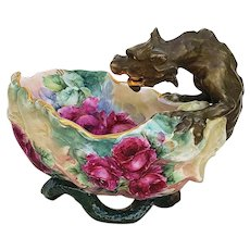 "Spectacular & Rare William Guerin Limoges France 1900's Hand Painted Dragon Handle with ""Red Roses"" Fancy Floral & Figural Bowl"