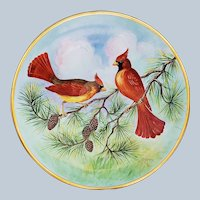 "Striking Hutschenreuther Bavaria Hohenberg Germany 1939 Vibrant Hand Painted ""Red Cardinals"" 12-5/8"" Scenic Charger by Listed Artist, ""Carl Koenig"""