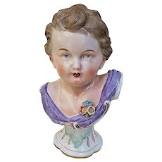 "Wonderful Germany Dresden Sitzendorf Pre-1900 Hand Painted ""Young Blue Eye Girl"" 7-3/4"" Figural Bust"