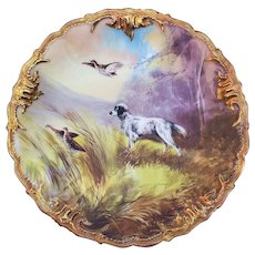 """Stunning Limoges France & Ovington Bros of New York 1900 Hand Painted """"French Black & White Spaniel"""" 9-5/8"""" Hunting Grouse Plate by Artist, """"BAS"""""""