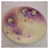 """Colorful Limoges 1900's Hand Painted """"Violets"""" 8-3/8"""" Plate by """"Vidal"""""""