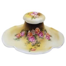 """Outstanding Vintage RS Prussia [OS] 1900 Hand Painted """"Pink & Peach Roses"""" Floral & Scallop 3-Pc Inkwell"""
