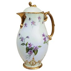 """Exceptional & Attractive Jean Pouyat Limoges France 1900 Hand Painted """"Violets"""" 9"""" Floral Chocolate Pot"""