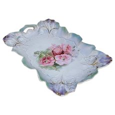 "Just Stunning RS Prussia 1900 ""Red-Pink Poppies"" 11-1/4"" Iris Mold Satin Finish Fancy Floral Tray"