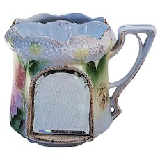 "Beautiful Vintage RS Prussia 1900 ""Red, Pink, & Yellow Roses"" Stipple Mold Scuttle Shaving Mug with Mirror"