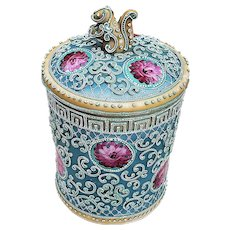 """Exceptional & Scarce Nippon Vintage 1900 Hand Painted """"Red Floral Flowers"""" 7-3/4"""" Moriage Humidor With Squirrel Finial"""
