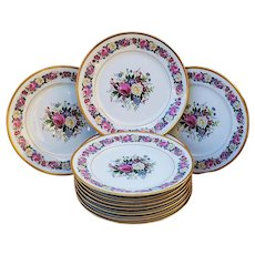 """Fabulous 1908 Vintage Bernardaud & Cie Limoges France Hand Painted """"Roses & Violets"""" Set of 11 Floral Plates by the Artist, """"Lakme"""" Made Especially for the Ovington Bros. of New York"""