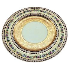 """H & Co. Selb Bavaria 1920's Hand Painted """"Mixed Flowers"""" & Heavy Etched 22 K Gold 11"""" Floral Plate"""