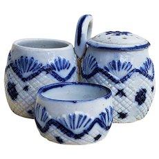 """Beautiful German Vintage 1900 """"Cut Glass"""" Cobalt Blue 3-Sectional Condiment Set"""