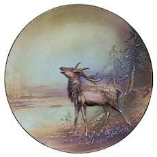 """Magnificent Nippon 1900 Blown Out & Hand Painted """"Bellowing Elk"""" 10-5/8"""" Plaque"""