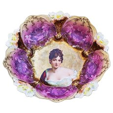 "Gorgeous RS Prussia 1900 ""Madame Recamier"" 10-5/8"" Lily Mold with Lavender & Heavy Gold Decor Portrait Bowl"