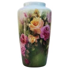 "Fabulous Bavaria Germany 1900's Hand Painted ""Red, Pink, & Yellow Roses"" 11-3/4"" Floral Vase by Artist, ""Lore"""