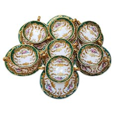 "Spectacular Cauldon English 1900 Hand Painted ""Wild Flowers"" Set of 7 Bouillon Cups & Saucer Set Made Especially For Burley & Co."