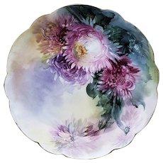 "Elegant Vintage Rosenthal 1900 Hand Painted ""Red, Pink, & Lavender Zinnia"" 8-1/2"" Floral Plate"