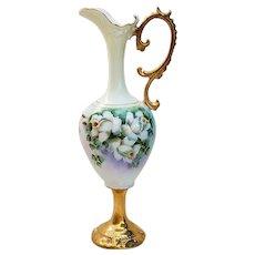 "Elegant Vintage RS Prussia 1900 Hand Painted ""White Roses"" 10"" Floral Pedestal Ewer"