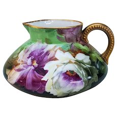 "Breathtaking Jean Pouyat Limoges France 1900 Hand Painted ""Purple & White Tulips"" Floral Cider Pitcher by the Artist, ""D. Unidn"""